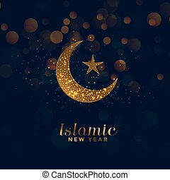 étoile, lune, islamique, fond, année, nouveau, heureux