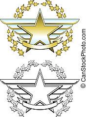 étoile, médaille, or
