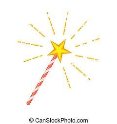 étoile, magie, dessin animé, coloré, baguette