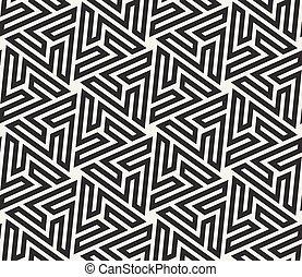 étoile, modèle, blanc, seamless, hexagonal, islamique, vecteur, noir, labyrinthe, ligne, géométrique