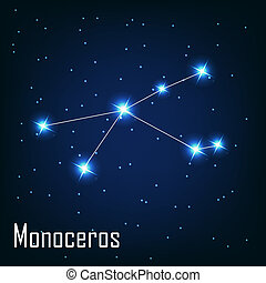 """, étoile, monoceros"", sky., illustration, vecteur, nuit, constellation"