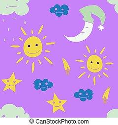 étoile, moon., illustration, vecteur, soleil, nuage