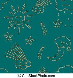 étoile, moon., vector3, illustration, soleil, nuage