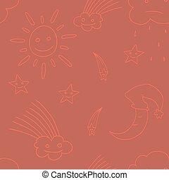 étoile, moon., vector4, illustration, soleil, nuage