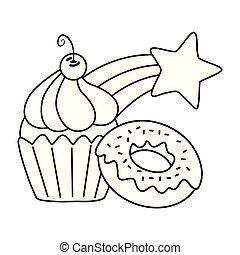 étoile, muffin, beignet, noir, blanc, tir