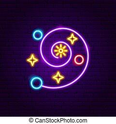 étoile, néon, galaxie, étiquette
