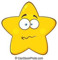 étoile, nerveux, caractère, confondu, type caractère jaune, expression, dessin animé, emoji