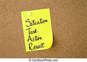 étoile, note jaune, action, écrit, papier, résultat, situation, tâche