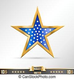 étoile, or, étiquette