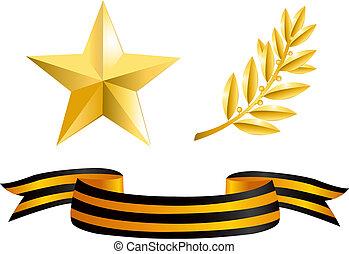 étoile or, branche, laurier, george, ruban