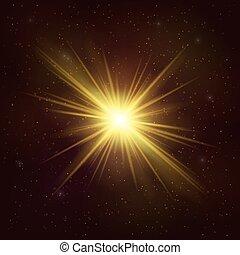 étoile, or, -, cosmique, object., réaliste, briller