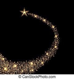 étoile, or, effect., lumière, illustration, vecteur, trail., lueur