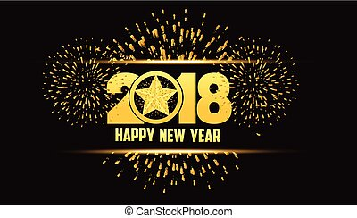 étoile, or, feux artifice, 2018, fond, année, nouveau, heureux