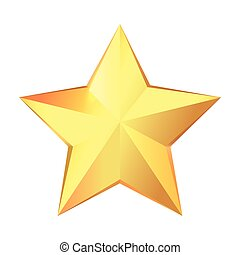 étoile, or, grand, isolé, fond, blanc, trophy.