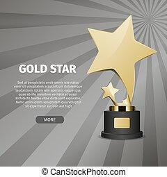 étoile, or, illustration, réaliste, stand, brillant