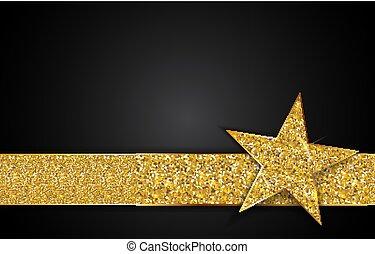 étoile, or, illustration, vecteur, arrière-plan noir, brillant