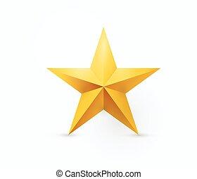 étoile, or, métal, illustration, vecteur, cinq-pointu