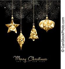 étoile, or, ornement, décoration noël, babiole