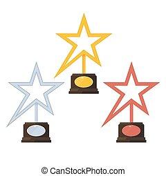 étoile or, récompense, bronze, argent