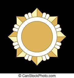 étoile, or, récompense, médaille, ordre, icône