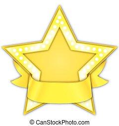 étoile or, récompense, ruban
