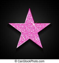 étoile, or, rose, illustration, vecteur, arrière-plan noir, brillant