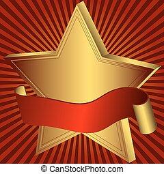 étoile or, ruban rouge