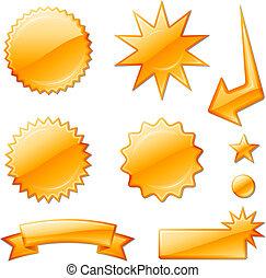 étoile, orange, conceptions, éclater