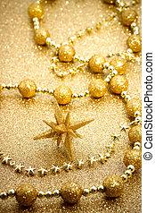 étoile, ornement, noël, doré