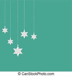 étoile, ornements, vecteur, arrière-plan vert, pendre