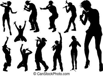 étoile, pays, hiphop, pop, silhouettes, rocher, chanteurs