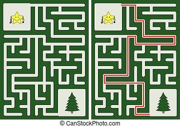 étoile, peu, facile, labyrinthe