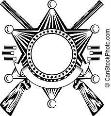étoile, pointu, shérifs, fusils chasse, traversé, six