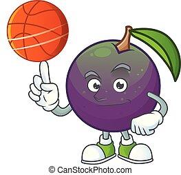 étoile, pomme, caractère, basket-ball, mascotte, dessin animé