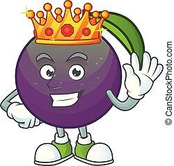 étoile, pomme, caractère, mascotte, dessin animé, roi
