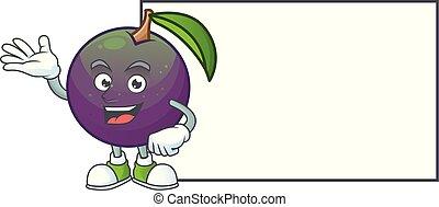 étoile, pomme, caractère, planche, mascotte, dessin animé