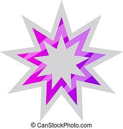 étoile, pourpre, symbole, bahai, vecteur, illustration, fond...
