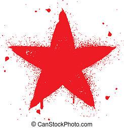 étoile, pulvérisation, graffiti, rouges, encre