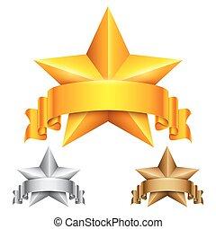 étoile, récompense, ruban