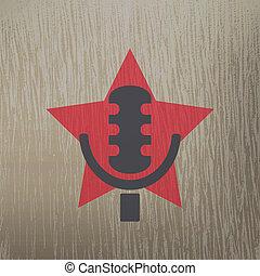 étoile, résumé, élément, conception, retro, microphone.