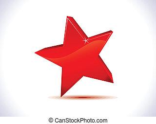 étoile, résumé, 3d, brillant, rouges, icône