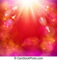 étoile, résumé, dynamique, burst., clair, fond, rouges