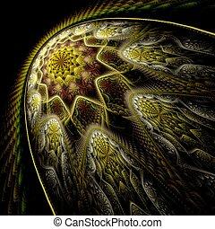 étoile, résumé, perspective, art numérique, fractal