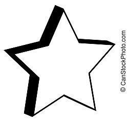 étoile, retro, 3d
