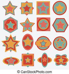 étoile, retro, fond, étiquette