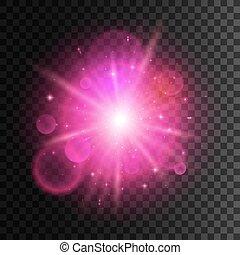 étoile rose, lumière, néon, effet, fusée objectif