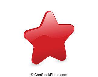 étoile, rouges, 3d