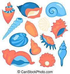étoile, seashell, set., spirale, collection, objects., marin