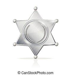 étoile, shérif, argenté, vecteur, écusson, vide