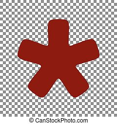 étoile, signe., astérisque, rouge foncé, arrière-plan., transparent, icône